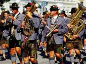 Photographic Print: Male Marching Band in Traditional Costume During Oktoberfest, Munich, Germany by Krzysztof Dydynski : 24x18in