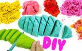 DIY Slime kinetic sand selber machen bunt färben diy ideen für kinder