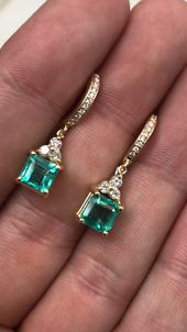 Square cut Colombian emerald and diamond cluster dangle earrings 18K