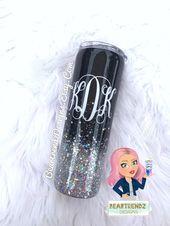 Black Ombre Glitter Tumbler, Personalized Tumbler, Skinny Glitter Tumbler, 30oz … – Products