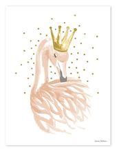Baby Ilustration Kinderzimmer-Poster 'Schwan mit Krone' gold/puderrosa 30x40cm