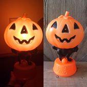 Vintage Halloween Kürbis Blowmold Light {Blasform Katze Kürbis Skelett Süßes oder Saures Kunststoff leuchtende Glühbirne Lampe Nachtlicht}