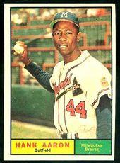 1961 Topps Baseball Cards 1961 Topps 415 Hank Aaron Braves Baseball Cards Value Baseball Cards Baseball Card Values Old Baseball Cards