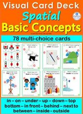 Spatial Prepositions ~ 72 Playing cards with Visuals Primary Ideas four SLP SpEd ELL