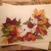 Animals made of autumn leafs
