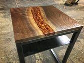 Copper Resin & Walnut Side Table — Higgins Fabri…