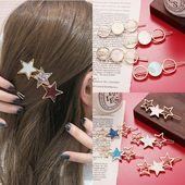 2019 New Women Cute Acetate Round Star Alloy Hair Clip