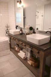 35 rustikale Badezimmer-Eitelkeits-Ideen, zum Ihrer nächsten Erneuerung anzuregen