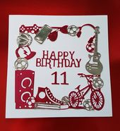 Happy Birthday Card Age 11 Pink Silver Handmade Technology Sport Football Music Guitar Bike Girls Da