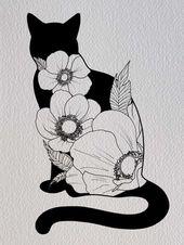Cat and flowers illustration PRINT / digital art / digital drawing / art print / cat / kitty / cat drawing / floral / flowers / wall art