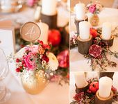 Eine Winterhochzeit und Rot / Bordeaux und Goldringe: Sarah Mias Sweet Candy Tabl …   – Hochzeit winterlich