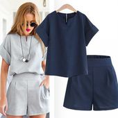 Linen two piece feminine workplace swimsuit Informal V-neck pants brief sleeve summer time style multicolor girls woman lady swimsuit set