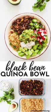 Black Bean Quinoa Bowls   Vegan, GF, Meal Prep