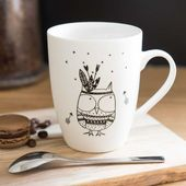 Mug motif hibou en porcelaine – #en #hibou #motif …