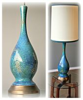 Sold This Royal Haeger Lamp Was Also Produced In Orange And Gold I Have An Orange One Available For Purchase As W Danish Modern Lighting Lamp Ceramic Vessel