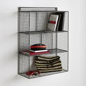 AREGLO Industrial-style Metal Wire Hanging Shelf Unit