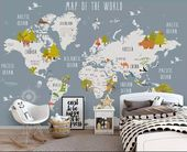 Kids World Map Wallpaper Animal Map Wall Murals Boys Bedroom Girls Bedroom Kindergarten Wall Decor Child Wall Art   – Para hacer