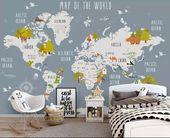 Kinder Weltkarte Tapete Tierkarte Wandbilder Jungen Schlafzimmer Mädchen Schlafzimmer Kindergarten Wanddekoration Kind Wandkunst  – Para hacer
