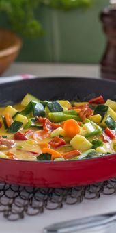 Panela de legumes com um molho de curry fino   – 15-Minuten-Rezepte