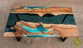 Live edge 3D effect river dining table with turquoise glowing | Etsy   – Resin furniture  – E…   – Creative Epoxy