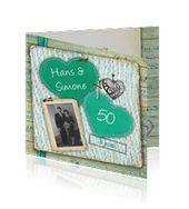 jubileumkaart 50 jaar modern met hartjes in groen