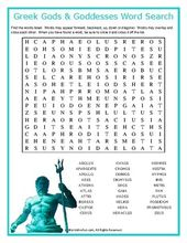 Greek Gods Goddesses Word Search Puzzle Greek Gods Word