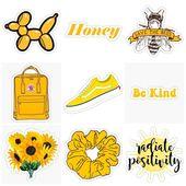 yellow sunny honey stickers – #honey #macbook #Sti…