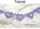 Schmuckherstellung Perlenmuster – Perlen Herz Armband Tutorial – Rocailles – Kristalle – Einfache Perlenmuster – Kleine Herzen # 1159