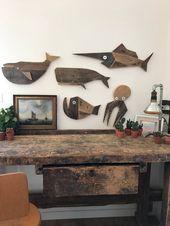 Moby Dick – sperm whale – whale art – wood art – beach house decor – reclaimed wood wall – pallet design – Balena Bianca – Herman Melville – Fische