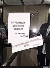 Im Fahrstuhl bitte nicht pupsen.. | Lustige Bilder…