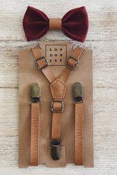 Vintage Tan Leather Suspenders and Brown Burlap Bow Tie Set Two Piece Set KidsAdults