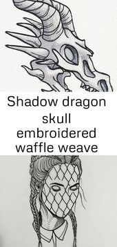 Shadow dragon skull embroidered waffle weave hand/dish towel 1