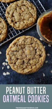 Peanut Butter Oatmeal Cookies are soft, chewy, and…