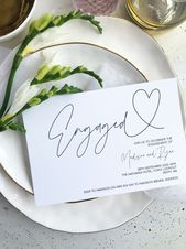 Simple Modern Engagement Party Invitation   – Engaged