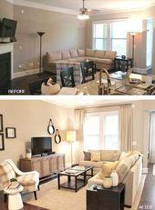 Vorher und nachher: 26 preiswerte, freundliche Wohnzimmer-Renovierungen, die Sie begeistern