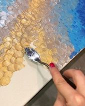 """Pouring with Emma on Instagram: """"A little process video of the texture painting I'm currently working on💛 I'm loving this technique and the golden color palette. I'm…"""""""