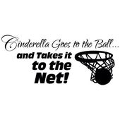 Girls Basketball Decal, Cinderella goes to the Ball, Basketball Vinyl Wall Decor, Sport stickers, princess wall decor – Basketball