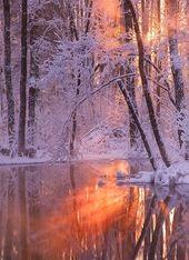Winterfeuer und Reflexion