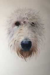 Perro lobo irlandés. Artista-Irina Kryuchkova # perro lobo irlandés # perro lobo # puerto de alfombra …