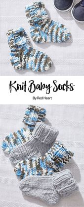 Calcetines de punto para bebés patrón de punto libre Baby Hugs Hilo mediano. Tejer un par de calcetines para ...