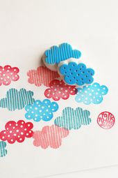 Cloud rubber stamps | climate hand carved stamps | polka dot + stripes | diy birthday & child bathe