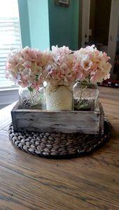 Décoration de table de mariage en bocal rustique #LivingRoomDecor