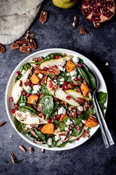 Beautiful and festive roasted sweet potato, pear and pomegranate spinach salad w…   – Salad Recipes
