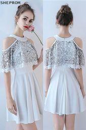 Discount White Short Neckholder Homecoming Partykleid Kalte Schulter # BLS86059 bei ...