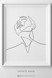 Nordic simple wall art, minimal illustration artwork, minimalism printable art, woman face drawing, one line sketch, line art, abstract figure drawing...