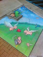 David Zinn Chalk Art: Sluggo's Adventures Continue   – Street Art ✨ – #adventu…   – Street Art