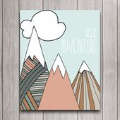 Seek Adventure Nursery Wall Art Poster Instant Download, Mountain Camping Baby Shower Gift Bedroom Decor, Woodland Inspirational Printable