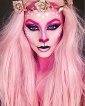 Pink reindeer Fantasy transformations for Halloween with body painting. V …