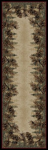 """2/'3/"""" x 7/'7/"""" Runner Lodge Cabin Pinecone Brown Area Rug *FREE SHIPPING* 2x8"""