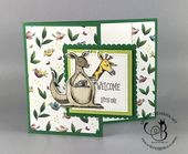 Baby Cards Stampin' Up! Animal Outing gift card holder fancy fold handmade card by Lisa...